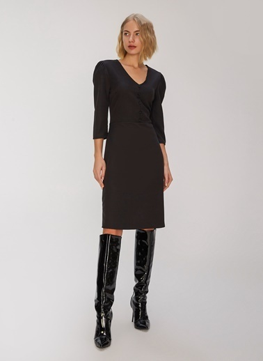 People By Fabrika Düğme Detaylı Elbise Siyah